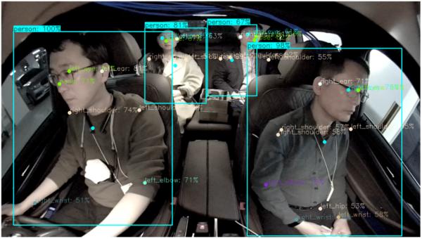 차량용 마이크로 카메라와 인공지능(AI)을 결합한 LG의 '운전자 모니터링 시스템(DMS)'이 운전자와 동승자의 행동패턴을 감지하고 있다.[사진제공=LG]