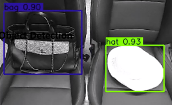 차량용 마이크로 카메라와 인공지능(AI)을 결합한 LG의 '실내 모니터링 시스템(IMS)'이 차량 내부에 둔 소지품을 분석하고 있다.[사진제공=LG]