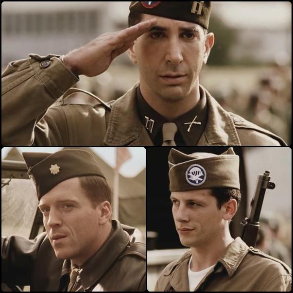 미국 전쟁 드라마 '밴드 오브 브라더스'에서 소벨 대위(위)가 한때 자신의 부하였던 윈터스 소령을 향해 경례하는 모습 / 사진=사회관계망서비스(SNS) 캡처