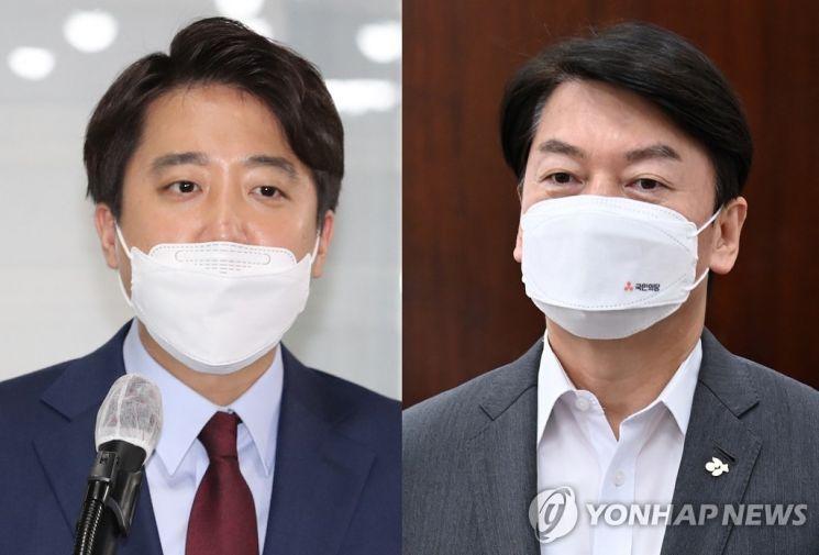 이준석 국민의힘 대표(왼쪽)와 안철수 국민의당 대표. /사진=연합뉴스