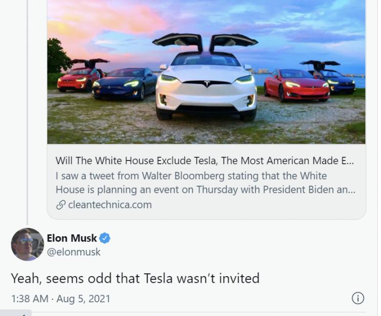 일론 머스크 테슬라 CEO는 백악관의 전기차 관련 행사에 테슬라가 초대 받지 못한 것에 대한 불만을 트위터에 털어 놓었다.