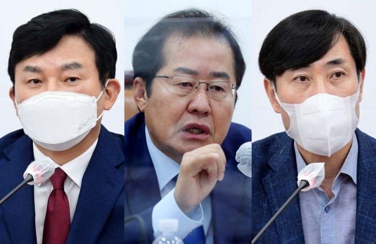 (왼쪽부터) 원희룡 전 제주도지사, 홍준표·하태경 국민의힘 의원 [사진= 윤동주 기자, 연합뉴스]