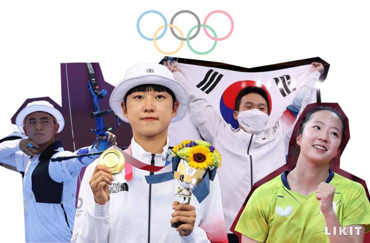 대한민국을 대표해 땀구슬 흘려준 올림픽 선수들. ⓒ(왼쪽부터) 올림픽 공식 한국어 계정, 도쿄올림픽, 신유빈 인스타그램