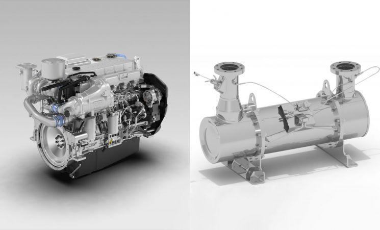 전자식 선박엔진 DX12(왼쪽)와 유해물질 배출 차단 기술이 적용된 SCR 머플러(오른쪽)