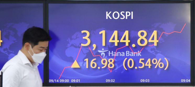 코스피가 소폭 상승세로 장을 출발한 14일 오전 서울 중구 하나은행 딜링룸에 지수가 띄워져 있다. [이미지출처=연합뉴스]