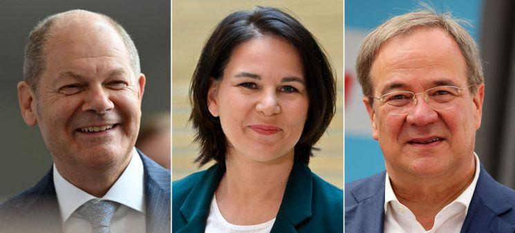 왼쪽부터 올라프 숄츠 사민당 총리 후보, 안나레나 배어복 녹색당 총리 후보, 아르민 라셰트 기민기사연합 총리 후보   [사진 제공= AFP연합뉴스]