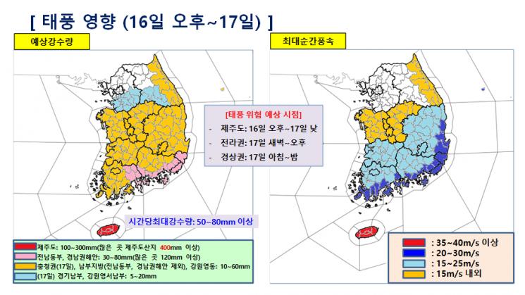 16~17일 태풍 위험 예상 시점(출처=기상청)