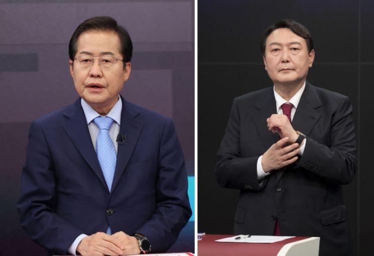 국민의힘 대권주자인 홍준표 의원(왼쪽)과 윤석열 전 검찰총장
