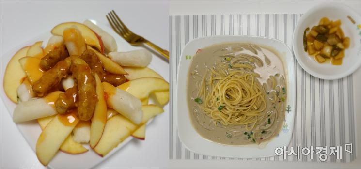 B씨가 평소 즐겨 먹는 비건 탕수육(좌)과 검은콩 파스타. 사진=B씨 제공.
