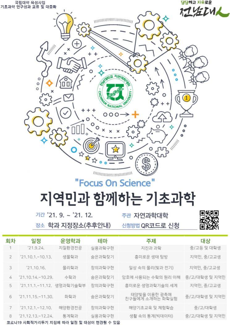 'Focus On Science' 지역민과 함께하는 기초과학」 포스터. 사진=전남대 제공.