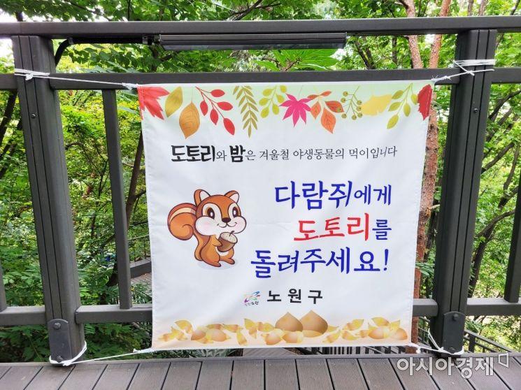 서울 한 등산로에 있는 임산물 불법 채취 근절 현수막. 사진=한승곤 기자 hsg@asiae.co.kr