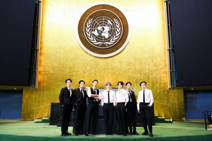 제76차 유엔총회에 참석한 그룹 방탄소년단(BTS).