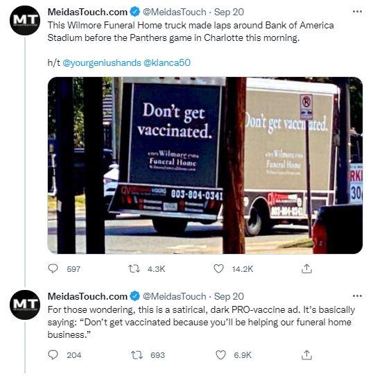 미국에서 섬뜩한 백신 접종 광고가 등장해 화제다. [사진=MeidasTouch.com 사회관계망서비스(SNS) 캡처]