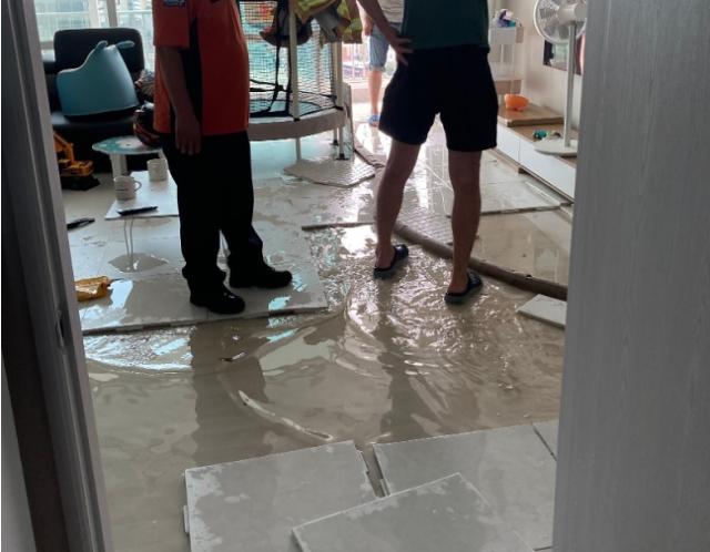 스프링클러 누수 문제로 물바다가 된 아파트 내부./사진=온라인 커뮤니티 캡처