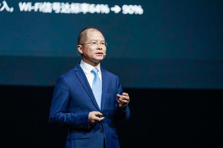 에릭 쉬 화웨이 회장이 중국 상하이에서 열린 '화웨이 커넥트 2021'에서 기조연설을 하고 있다. (사진=화웨이)