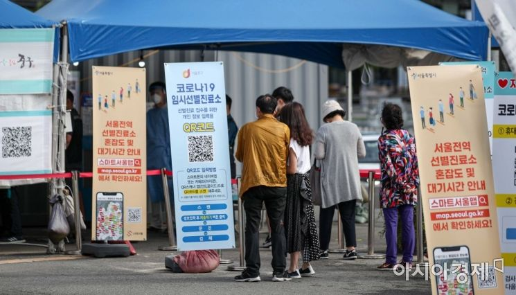26일 서울역 광장에 마련된 임시선별검사소를 찾은 시민들이 검사를 받기 위해 대기하고 있다./강진형 기자aymsdream@