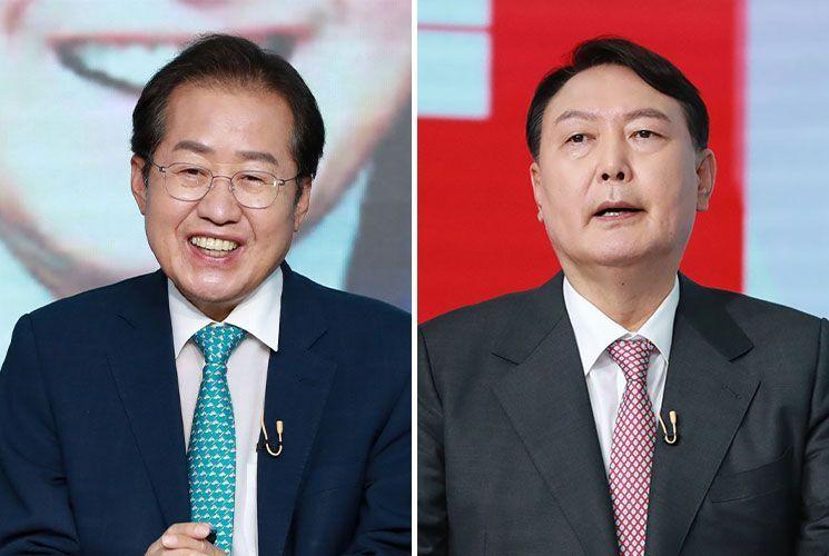 국민의힘 대선주자인 홍준표 의원(왼쪽)과 윤석열 전 검찰총장