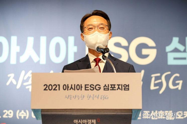 조해진 국회 ESG포럼 공동대표(국민의힘 국회의원)가 29일 서울 중구 웨스틴조선호텔에서 열린 '2021 아시아 ESG 심포지엄'에 참석해 환영사 하고 있다./강진형 기자aymsdream@