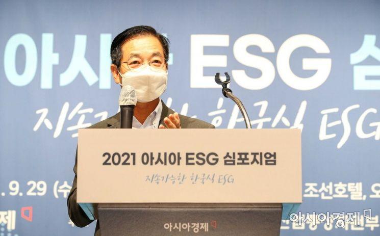 김세훈 현대자동차 연료전지사업부장(부사장)이 29일 서울 중구 웨스틴조선호텔에서 열린 '2021 아시아 ESG 심포지엄'에 참석해 '수소 사회 도래와 현대차그룹 비전'이란 주제로 발표하고 있다./강진형 기자aymsdream@