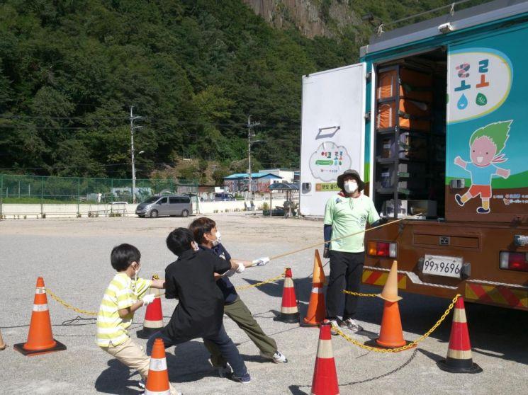 """""""600㎞ 달려왔어요"""" 울릉도 아이들에 친환경에너지 알린 코오롱"""