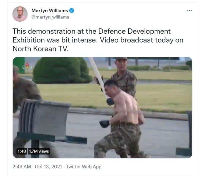 """북한 전문 분석 매체 '38노스(38North)' 소속 마틴 윌리엄스는 """"살짝 격렬하다""""는 평가를 내놓기도 했다. / 사진=마틴 윌리엄스 트위터 캡처"""