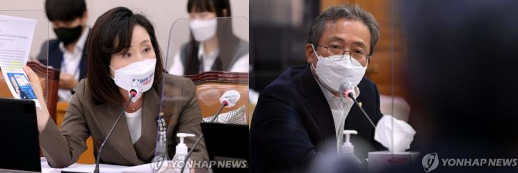 왼쪽부터 전주혜 국민의힘 의원과 송기헌 더불어민주당 의원.