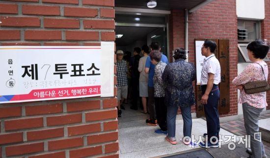 [포토] 투표 위해 줄 선 유권자들