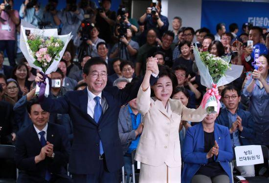 """[6·13 민심]박원순 """"새로운 4년 시민과 함께 할 수 있어 영광"""""""