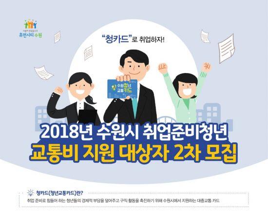 수원시 취업청년 교통비 30만원 준다…'청카드' 모집