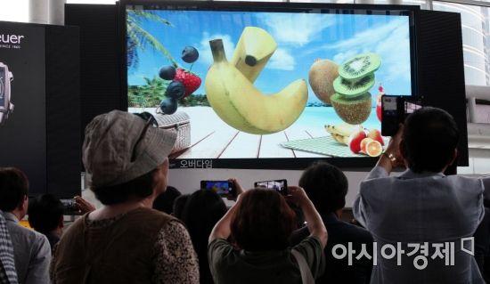 [포토] 254인치 무안경 3D 영상시연 바라보는 시민들