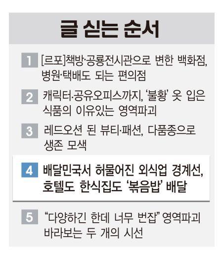 [유통 빅블러]'배달민국'서 허물어진 외식업 경계선…호텔도 한식집도 '볶음밥' 배달