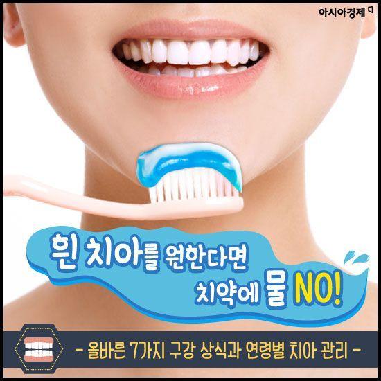 [카드뉴스]흰 치아를 원한다면 치약에 물 NO!