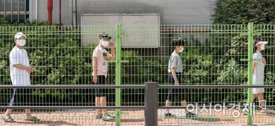 [포토]코로나19 검사 기다리는 초등학생들